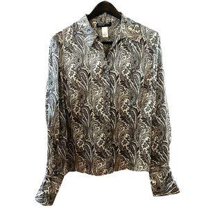 Jones New York Paisley Print Long Sleeve Blouse